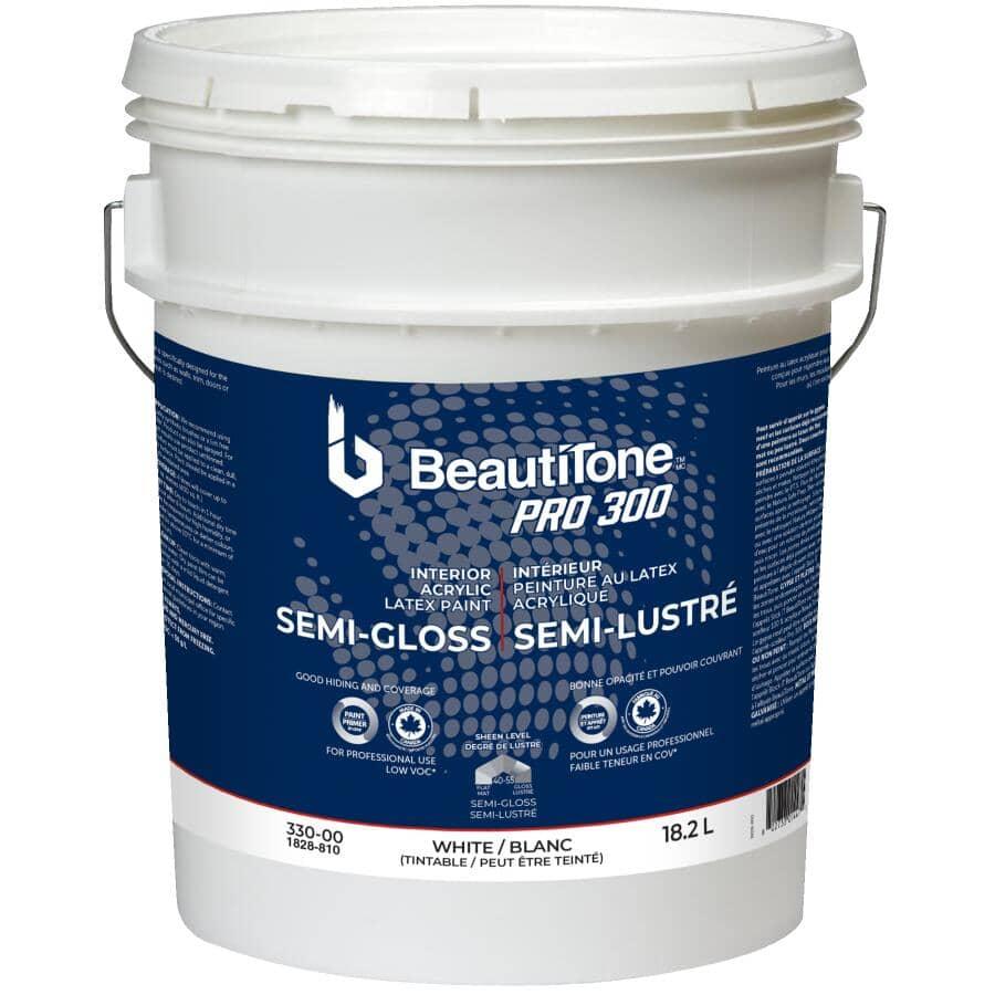 BEAUTI-TONE PROFESSIONAL:Peinture d'intérieur au latex et acrylique fini semi-lustré Pro 300, blanc, 18,2 L