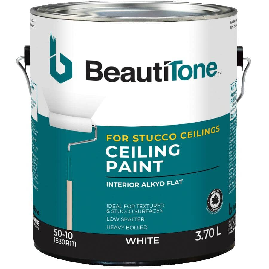 BEAUTI-TONE:Stucco Ceiling Alkyd Paint - Flat White, 3.7 L
