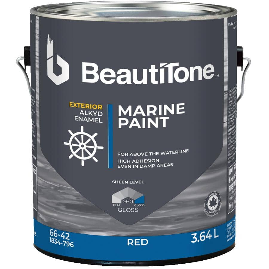 FISHERMAN'S PAINT:Peinture à l'alkyde pour bateau, rouge, 3,64 L