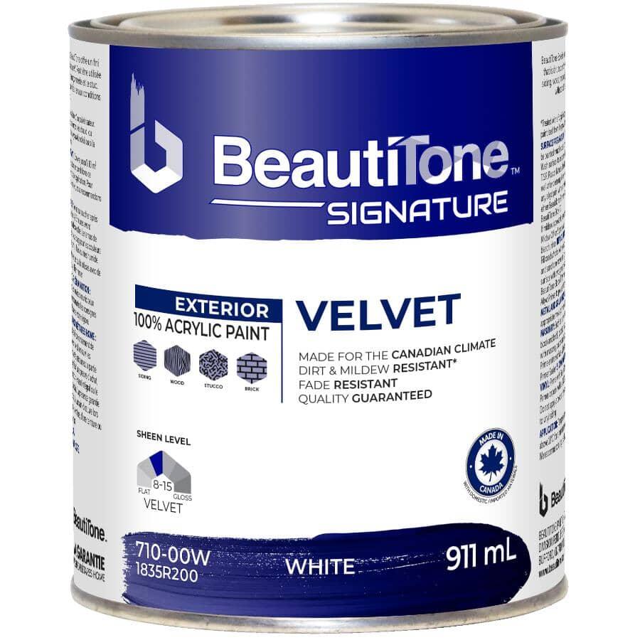 BEAUTI-TONE SIGNATURE SERIES:Exterior Acrylic Latex Velvet Paint - White Base, 911 ml