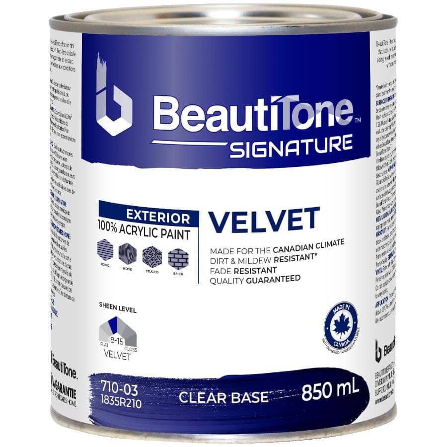 BEAUTI-TONE SIGNATURE SERIES:Exterior Acrylic Latex Velvet Paint - Clear Base, 850 ml