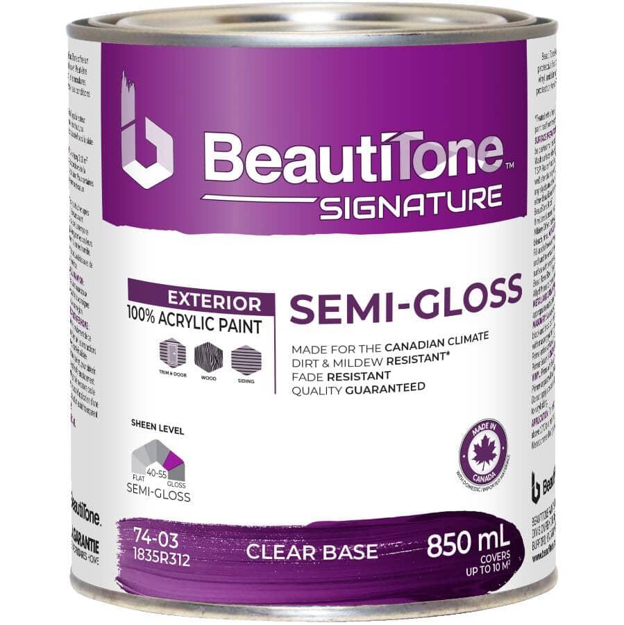 BEAUTI-TONE SIGNATURE SERIES:Exterior Acrylic Latex Semi-Gloss Paint - Clear Base, 850 ml