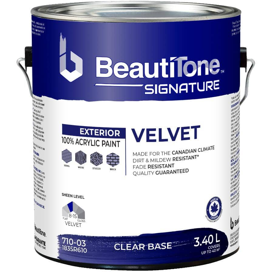 BEAUTI-TONE SIGNATURE SERIES:Exterior Acrylic Latex Velvet Paint - Clear Base, 3.4 L