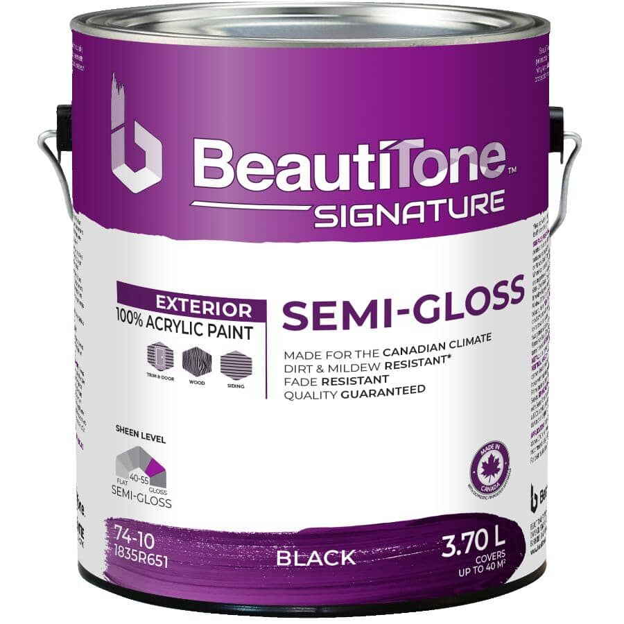 BEAUTI-TONE SIGNATURE SERIES:Exterior Acrylic Latex Semi-Gloss Paint - Black, 3.7 L