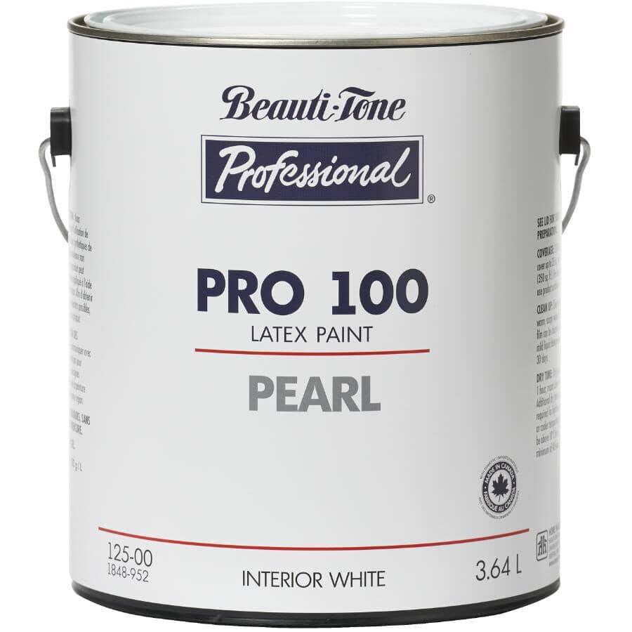 BEAUTI-TONE PROFESSIONAL:Peinture au latex Pro 100 pour l'intérieur blanc perle, 3,64 L