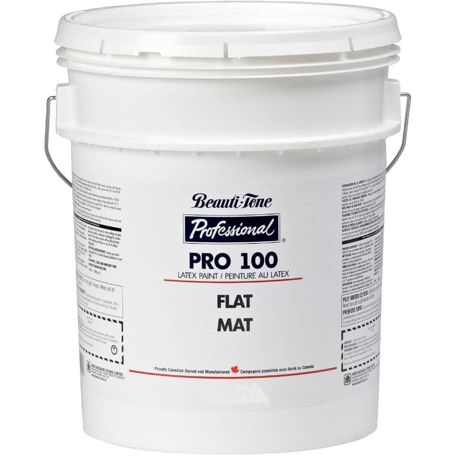BEAUTI-TONE PROFESSIONAL:Peinture au latex Pro 100 pour l'intérieur blanc mat, 18,5 L