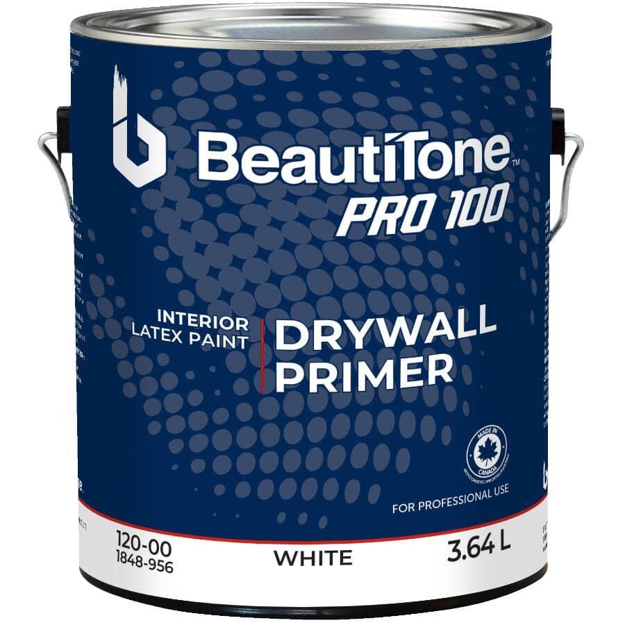 BEAUTI-TONE PROFESSIONAL:Apprêt au latex Pro 100 pour l'intérieur pour cloison sèche, blanc, 3,64 L
