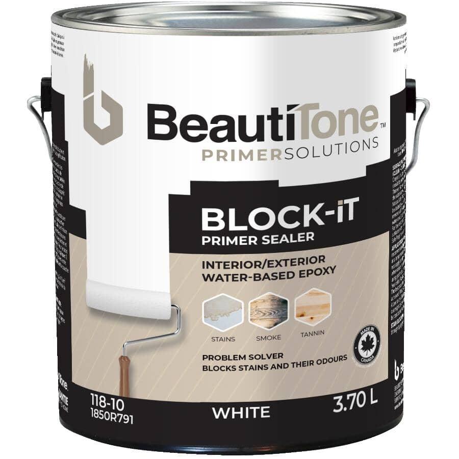 BEAUTI-TONE:Interior / Exterior Acrylic Latex Block It Primer Sealer - White, 3.7 L