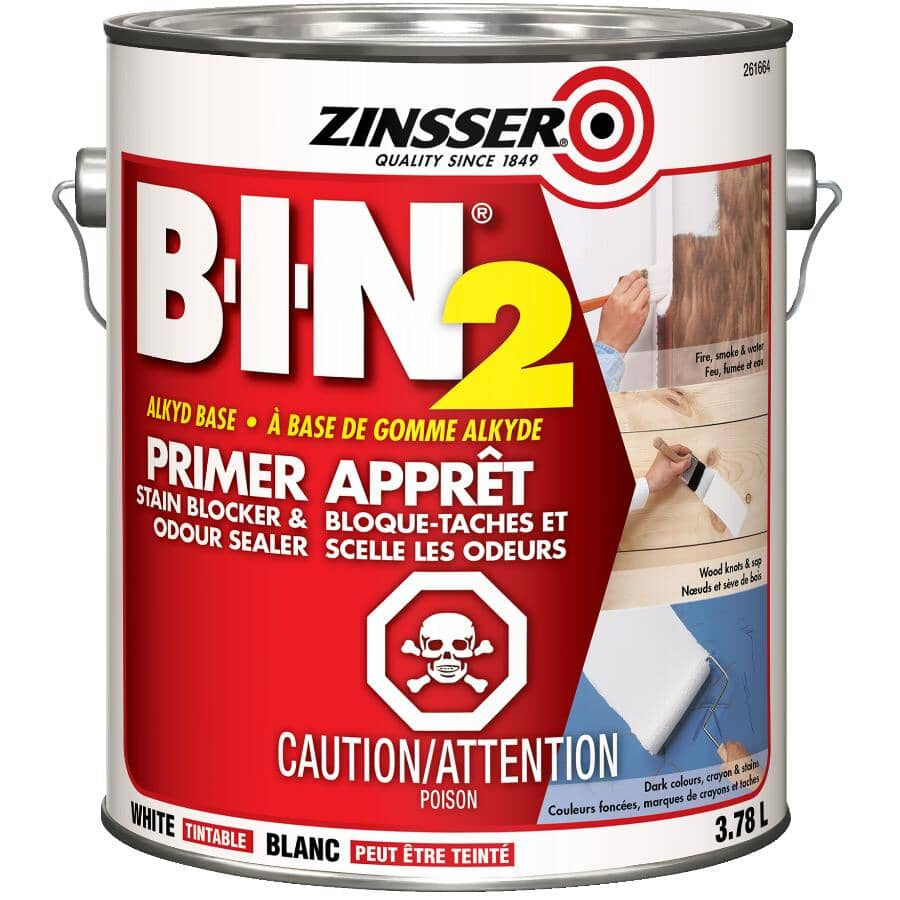 ZINSSER:BIN2 Stain Blocker Alkyd Primer-Sealer - White, 3.78 L