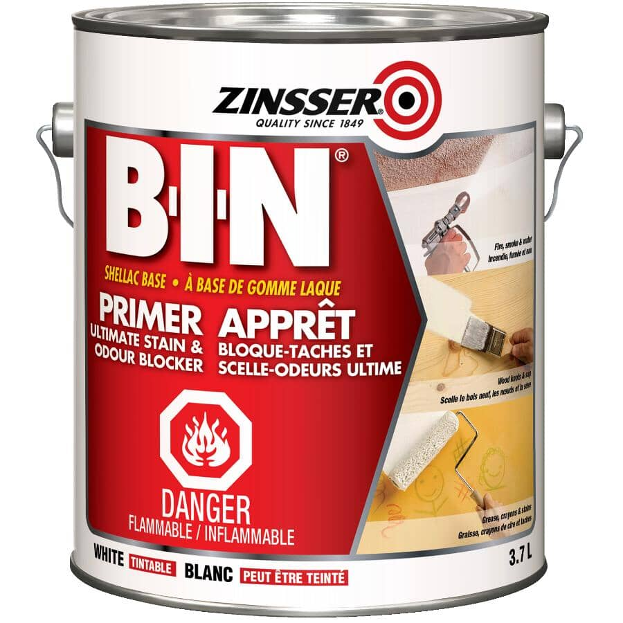 ZINSSER:BIN Stain Killer Alkyd Primer-Sealer - White, 3.7 L