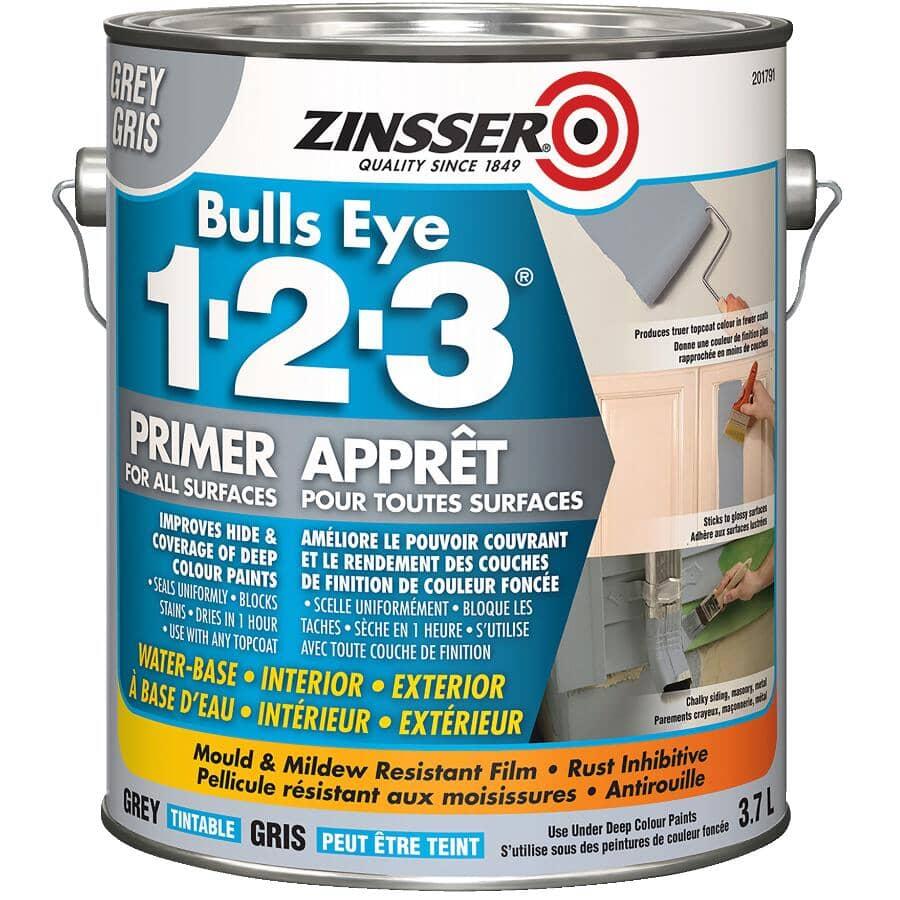 ZINSSER:Apprêt-scellant au latex 1-2-3 Bulls Eye, gris, 3,7 L
