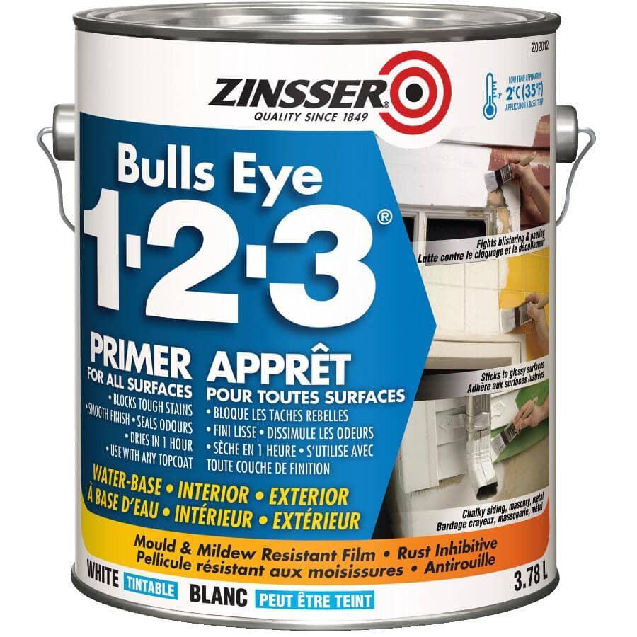 ZINSSER:Bulls Eye 1-2-3 Latex Primer-Sealer - White, 3.78 L