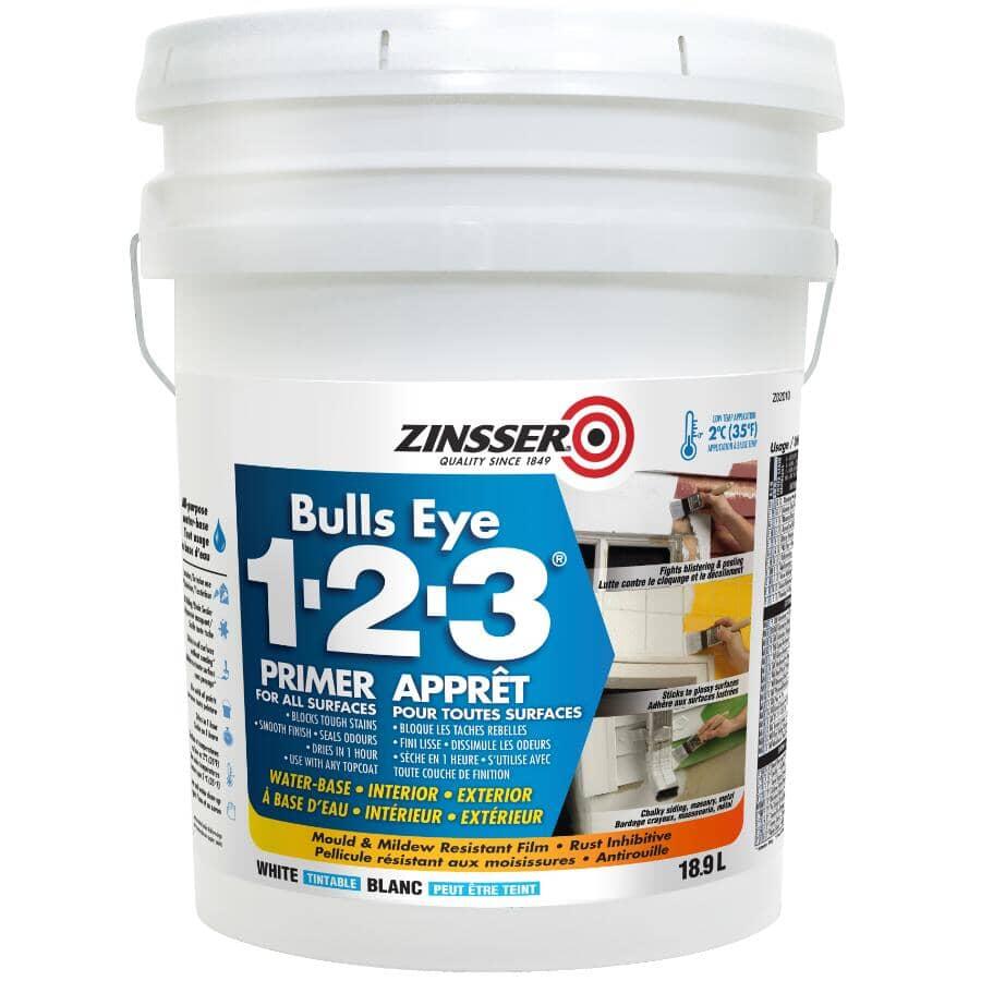 ZINSSER:Bulls Eye 1-2-3 Latex Primer-Sealer - White, 18.9 L