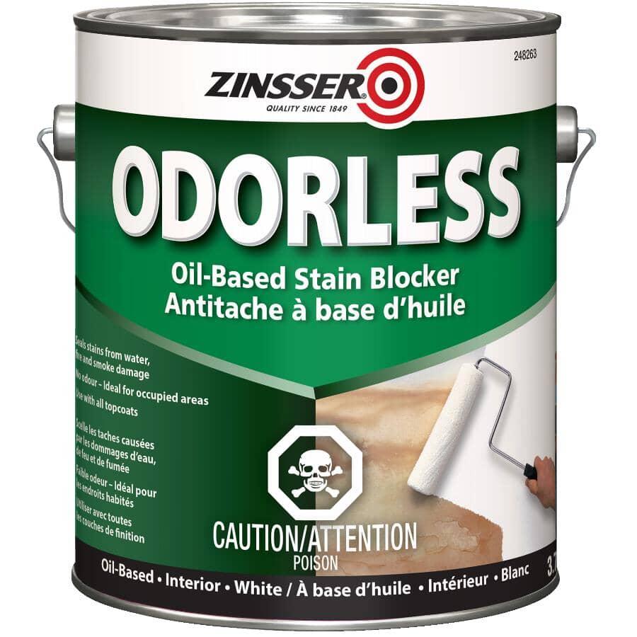 ZINSSER:Odorless Oil-Based Stain Blocker Alkyd Primer - White, 3.7 L