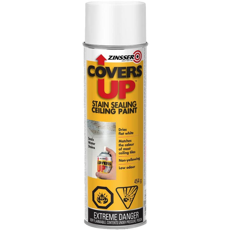 ZINSSER:Covers Up Stain Sealing Ceiling Alkyd Primer Spray - White, 454 g