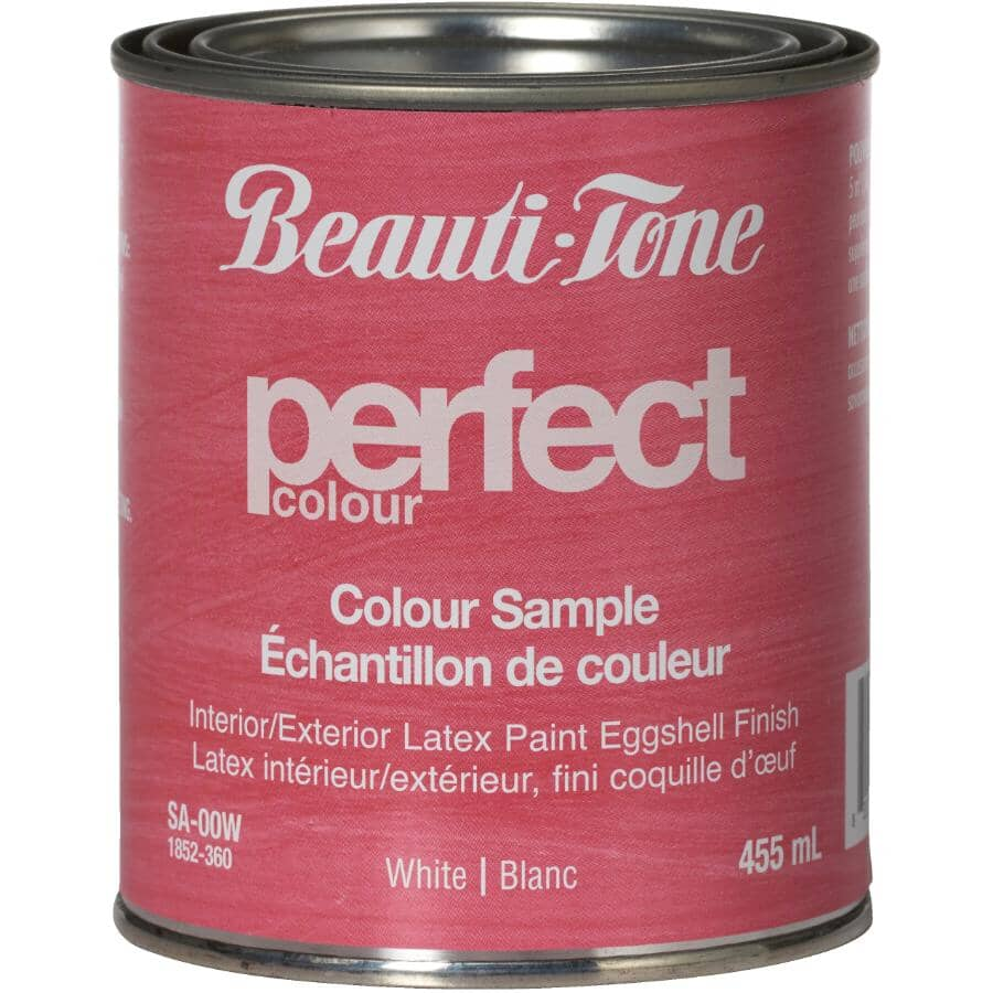 BEAUTI-TONE:Interior / Exterior Latex Eggshell Perfect Colour Paint Sample - White, 455 ml