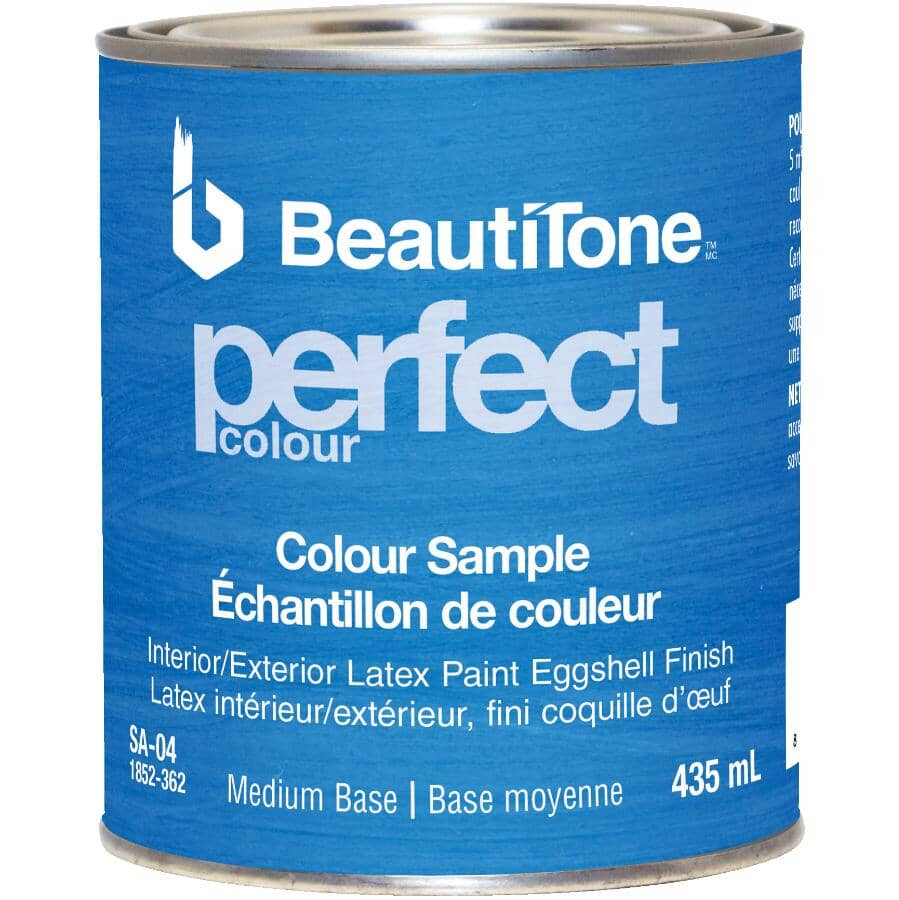BEAUTI-TONE:Interior / Exterior Latex Eggshell Perfect Colour Paint Sample - Medium Base, 435 ml