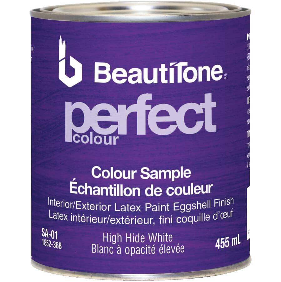 BEAUTI-TONE:Interior / Exterior Latex Eggshell Perfect Colour Paint Sample - High Hide White, 455 ml