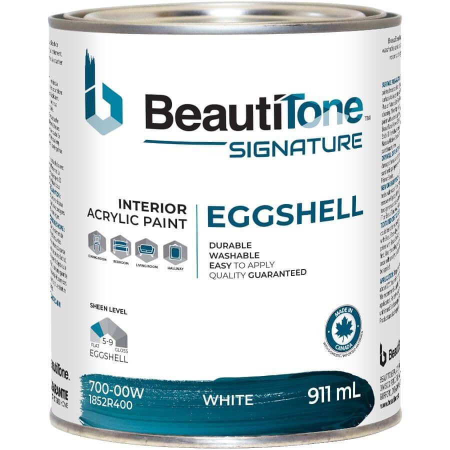 BEAUTI-TONE SIGNATURE SERIES:Interior Acrylic Latex Eggshell Paint - White, 911 ml