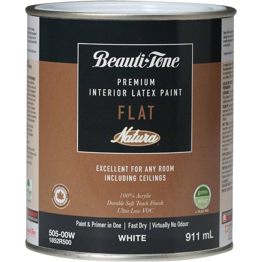 BEAUTI-TONE NATURA:Premium Interior Latex Flat Paint & Primer - White, 911 ml
