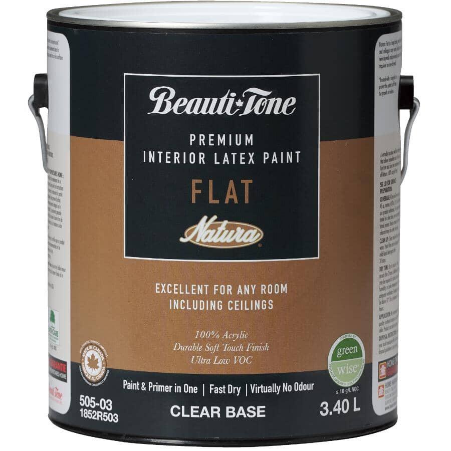 BEAUTI-TONE NATURA:Premium Interior Latex Flat Paint & Primer - Clear Base, 3.4 L