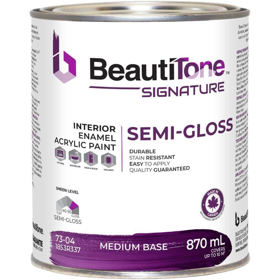 BEAUTI-TONE SIGNATURE SERIES:Interior Acrylic Latex Semi-Gloss Paint - Medium Base, 870 ml