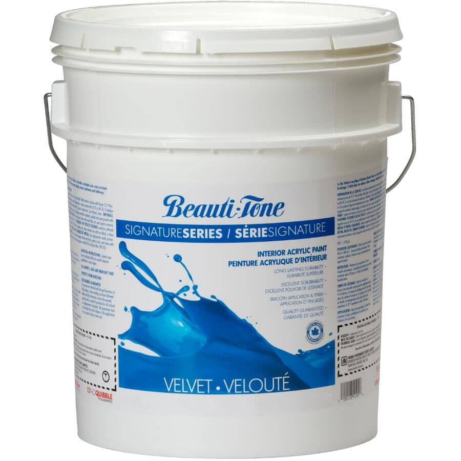 BEAUTI-TONE SIGNATURE SERIES:Interior Acrylic Latex Velvet Paint - Clear Base, 17 L