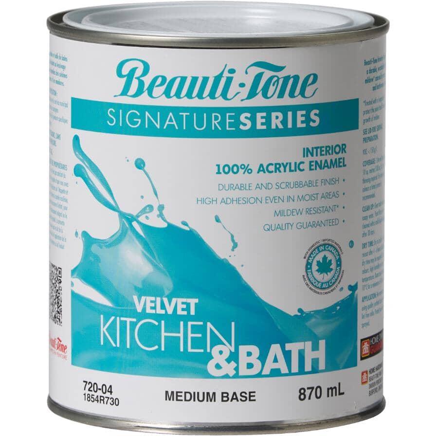 BEAUTI-TONE SIGNATURE SERIES:Interior Acrylic Latex Velvet Kitchen & Bath Paint - Medium Base, 870 ml