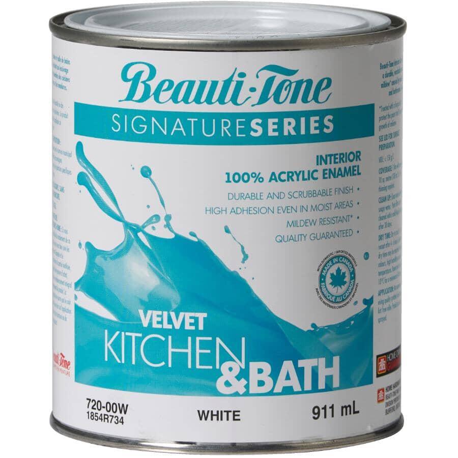 BEAUTI-TONE SIGNATURE SERIES:Interior Acrylic Latex Velvet Kitchen & Bath Paint - White, 911 ml