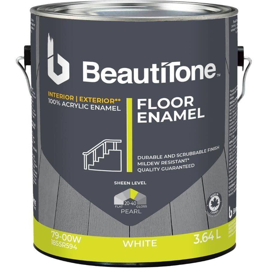 BEAUTI-TONE:Interior / Exterior Acrylic Latex Pearl Floor Paint - White, 3.64 L
