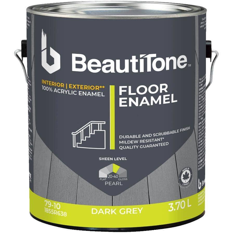 BEAUTI-TONE:Interior / Exterior Acrylic Latex Pearl Floor Paint - Dark Grey, 3.7 L