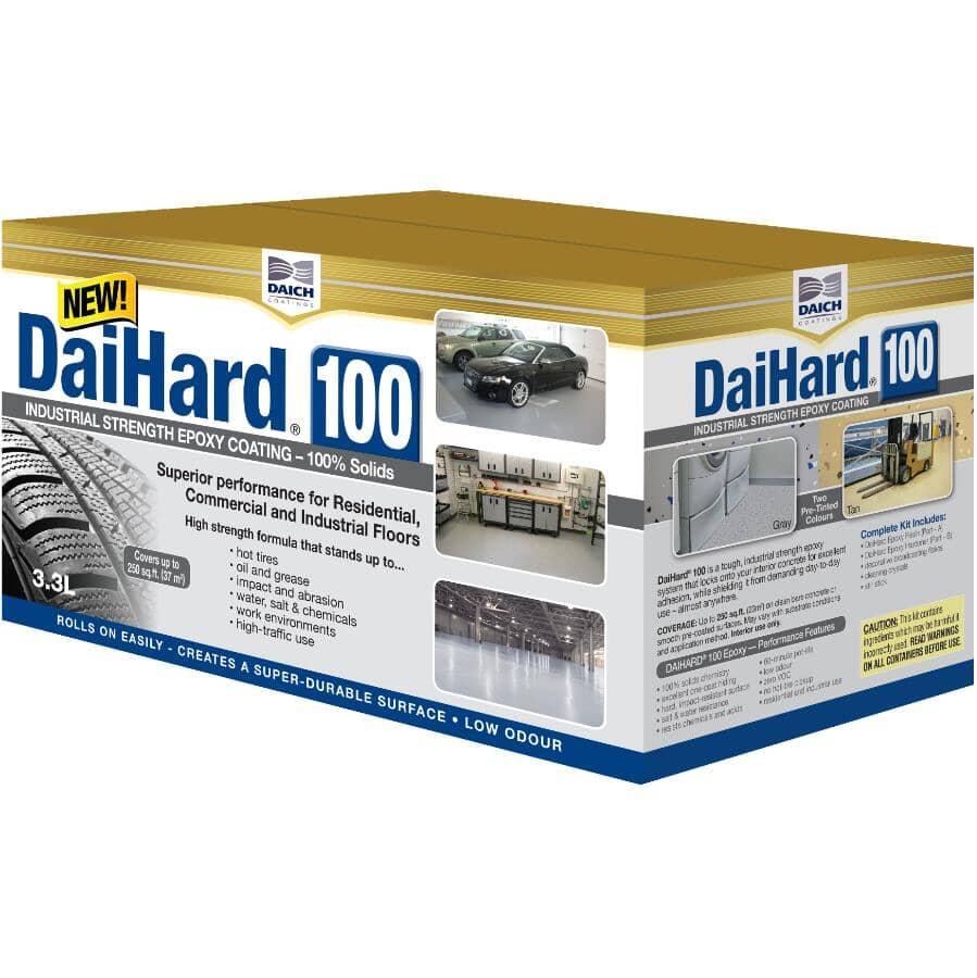 DAICH COATINGS:Trousse d'enduit de plancher époxy de qualité industrielle DaiHard 100, gris, 3,3 L