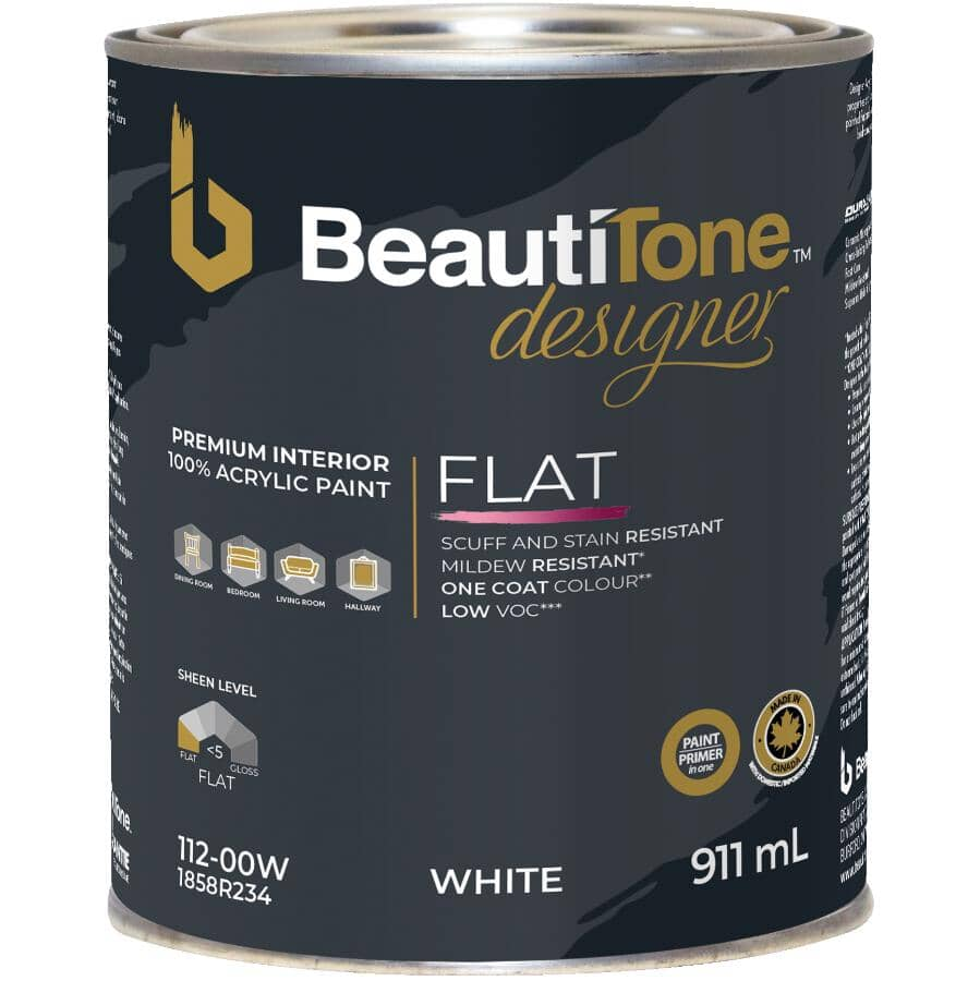 BEAUTI-TONE DESIGNER SERIES:Interior Acrylic Latex Matte Paint & Primer - White Base, 911 ml
