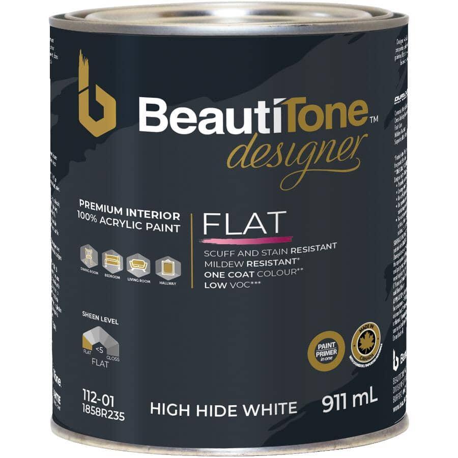 BEAUTI-TONE DESIGNER SERIES:Interior Acrylic Latex Matte Paint & Primer - High Hide White, 911 ml