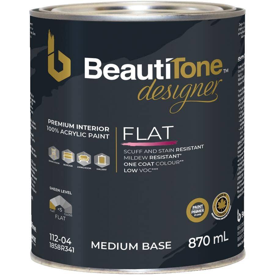 BEAUTI-TONE DESIGNER SERIES:Interior Acrylic Latex Matte Paint & Primer - Medium Base, 870 ml