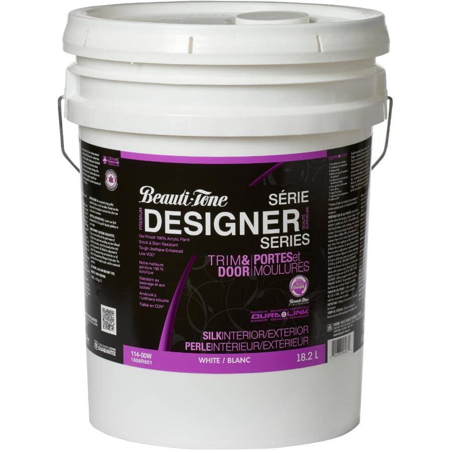 BEAUTI-TONE DESIGNER SERIES:Interior / Exterior Acrylic Latex Silk Trim & Door Paint - White, 18.2 L