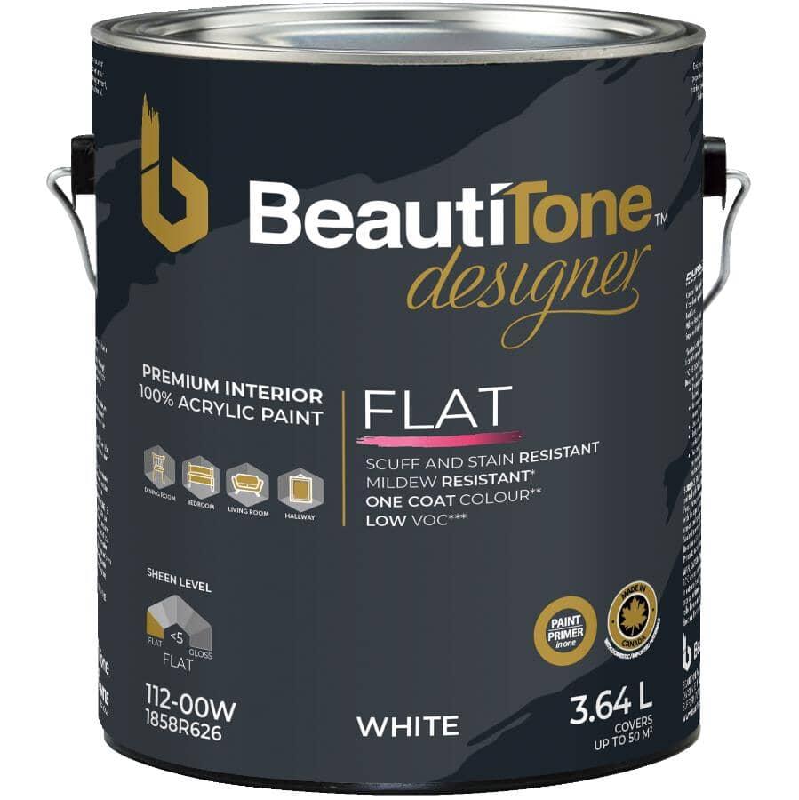 BEAUTI-TONE DESIGNER SERIES:Interior Acrylic Latex Matte Paint & Primer - White Base, 3.64 L