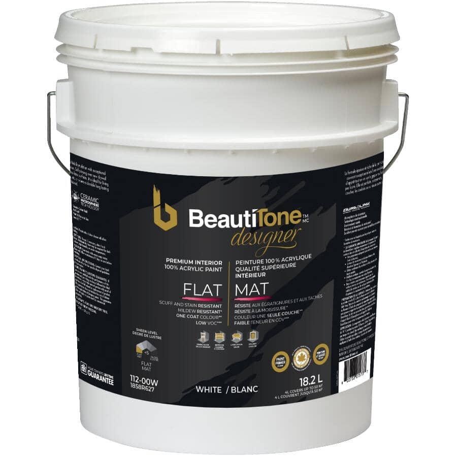 BEAUTI-TONE DESIGNER SERIES:Interior Acrylic Latex Matte Paint & Primer - White Base, 18.2 L