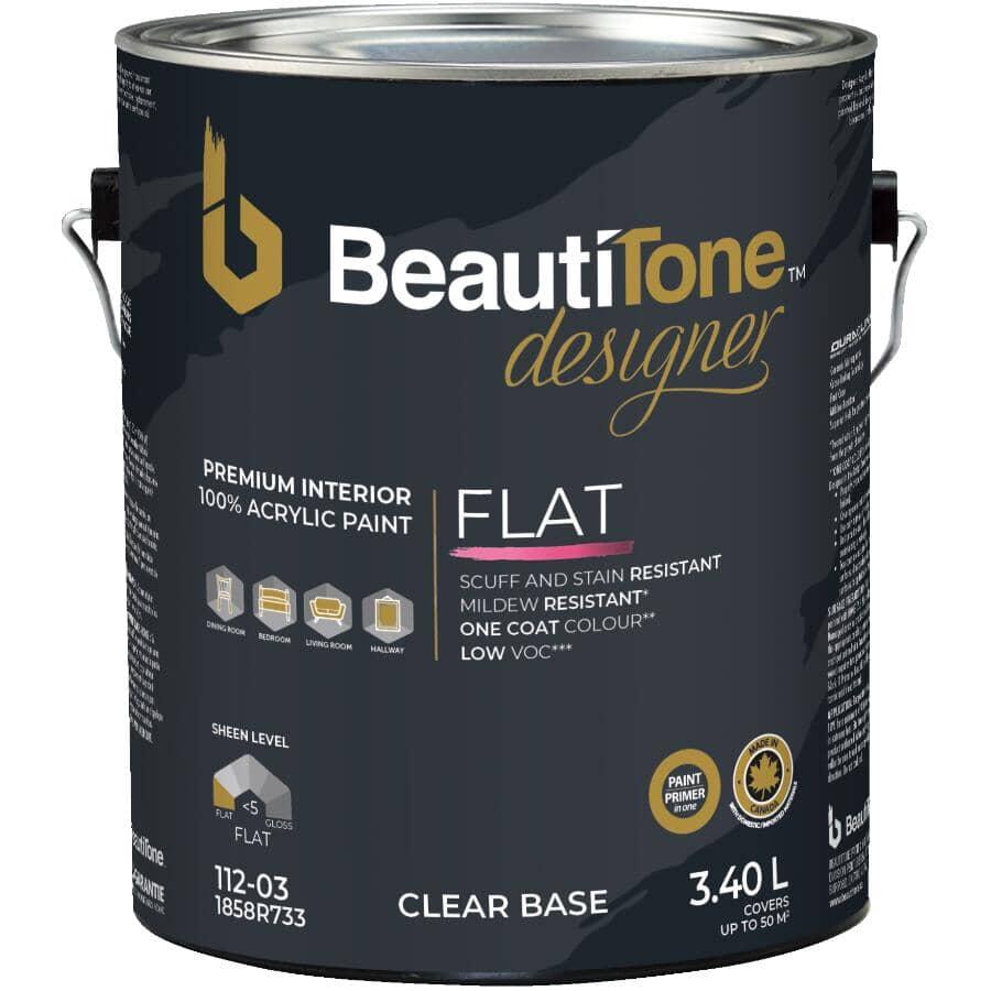 BEAUTI-TONE DESIGNER SERIES:Interior Acrylic Latex Matte Paint & Primer - Clear Base, 3.4 L