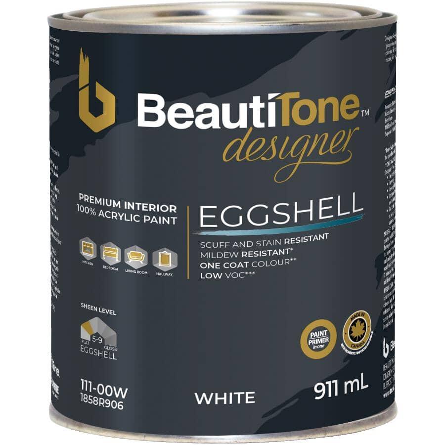 BEAUTI-TONE DESIGNER SERIES:Interior Acrylic Latex Satin Paint & Primer - White, 911 ml
