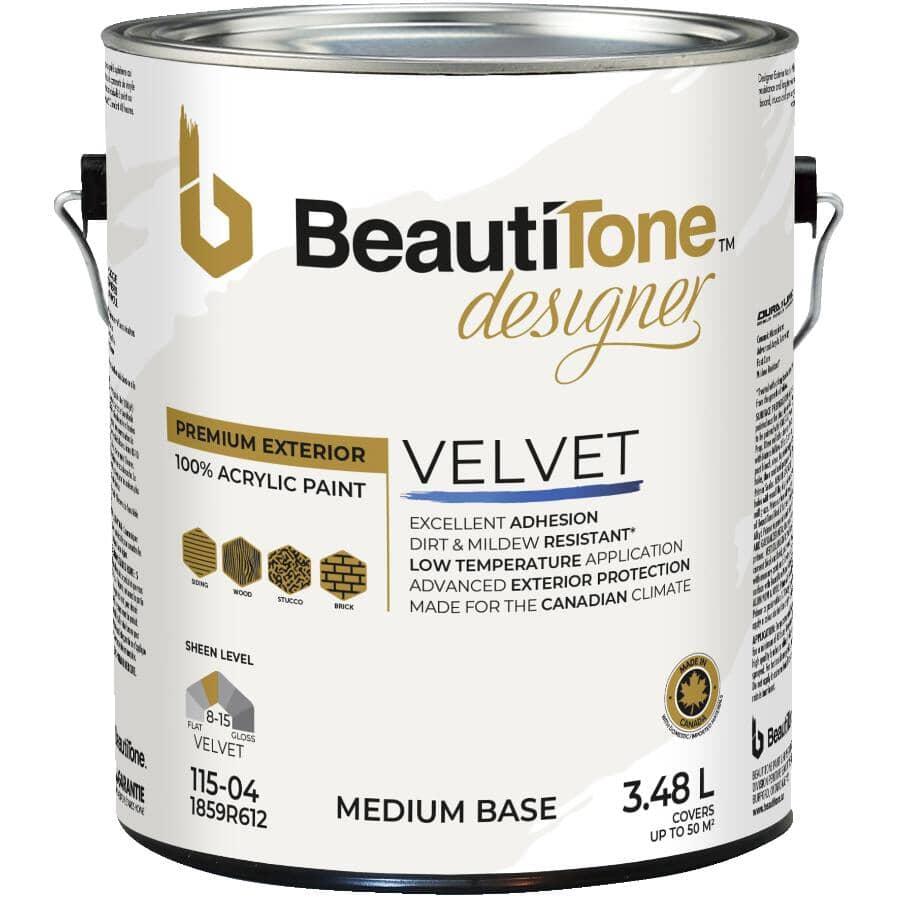 BEAUTI-TONE DESIGNER SERIES:Exterior Weather Shield Latex Suede Paint - Medium Base, 3.48 L