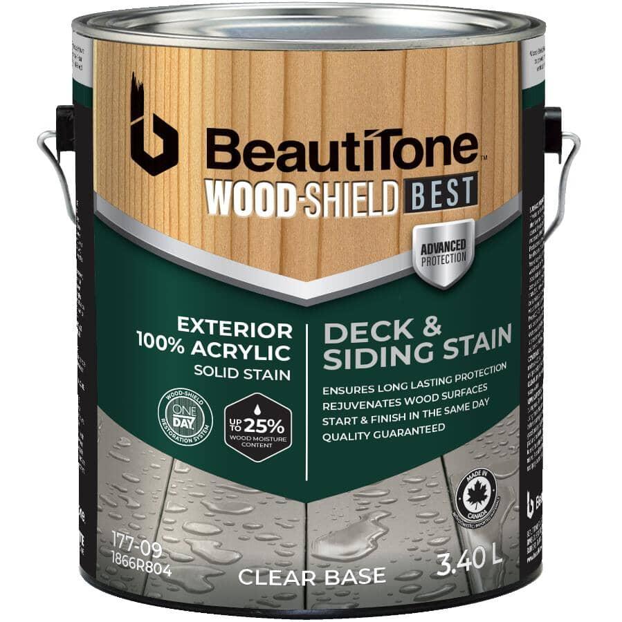 BEAUTI-TONE WOOD SHIELD BEST:Teinture 100 % acrylique opaque pour terrasse et parement, base claire, 3,4 L