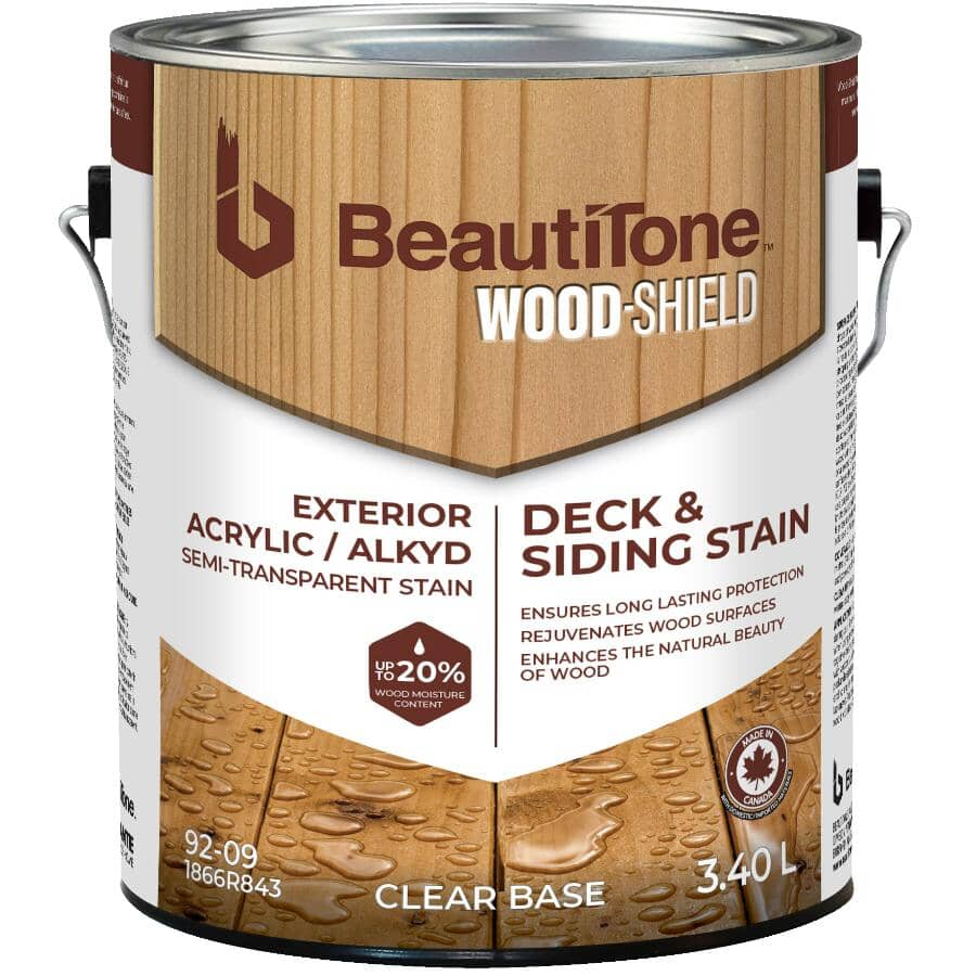 BEAUTI-TONE WOOD SHIELD:Teinture acrylique à l'alkyde semi-transparente pour terrasse et parement, base claire, 3,4 L