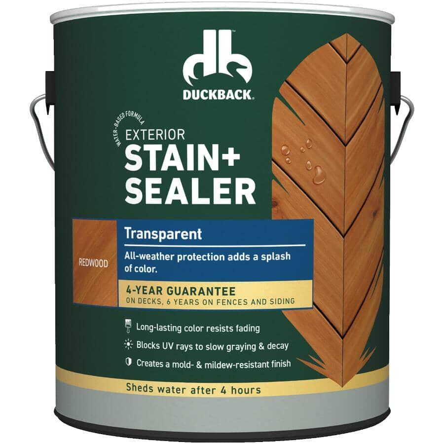 DUCKBACK:Exterior Transparent Stain & Sealer - Redwood, 3.7 L