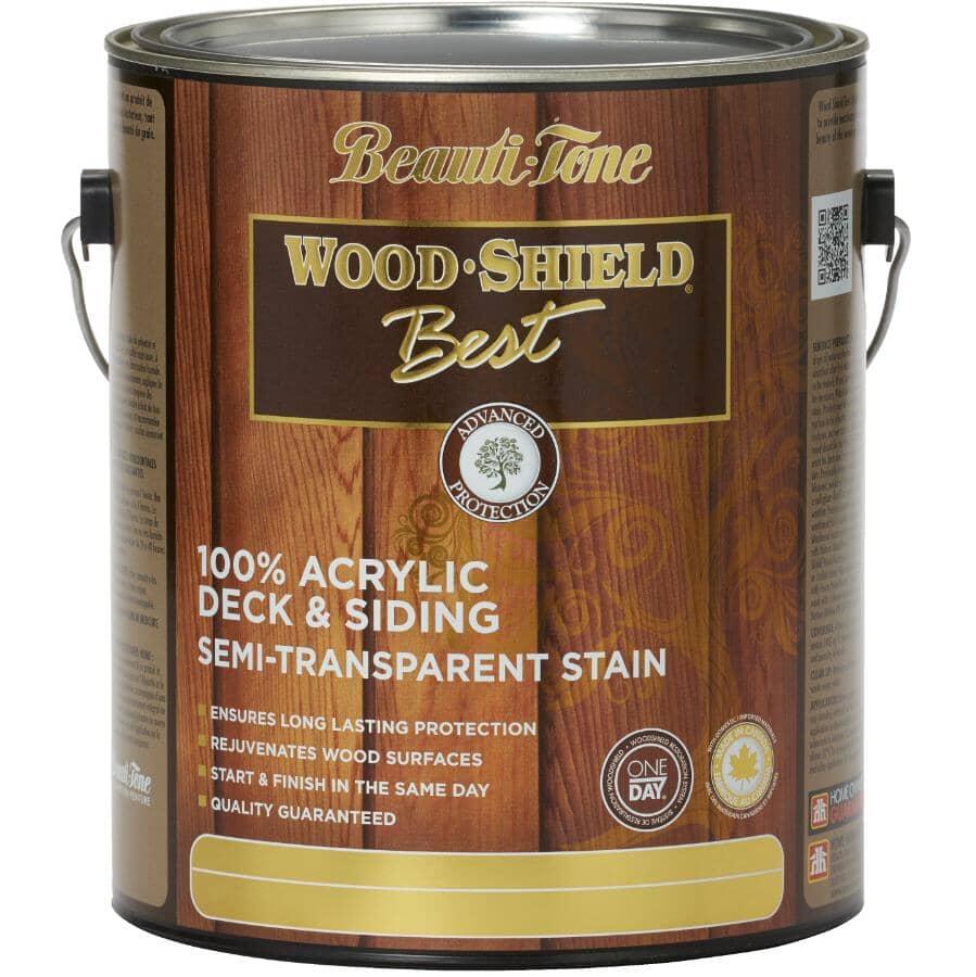 BEAUTI-TONE WOOD SHIELD BEST:100% Acrylic Deck & Siding Stain - Semi-Transparent Walnut, 3.64 L