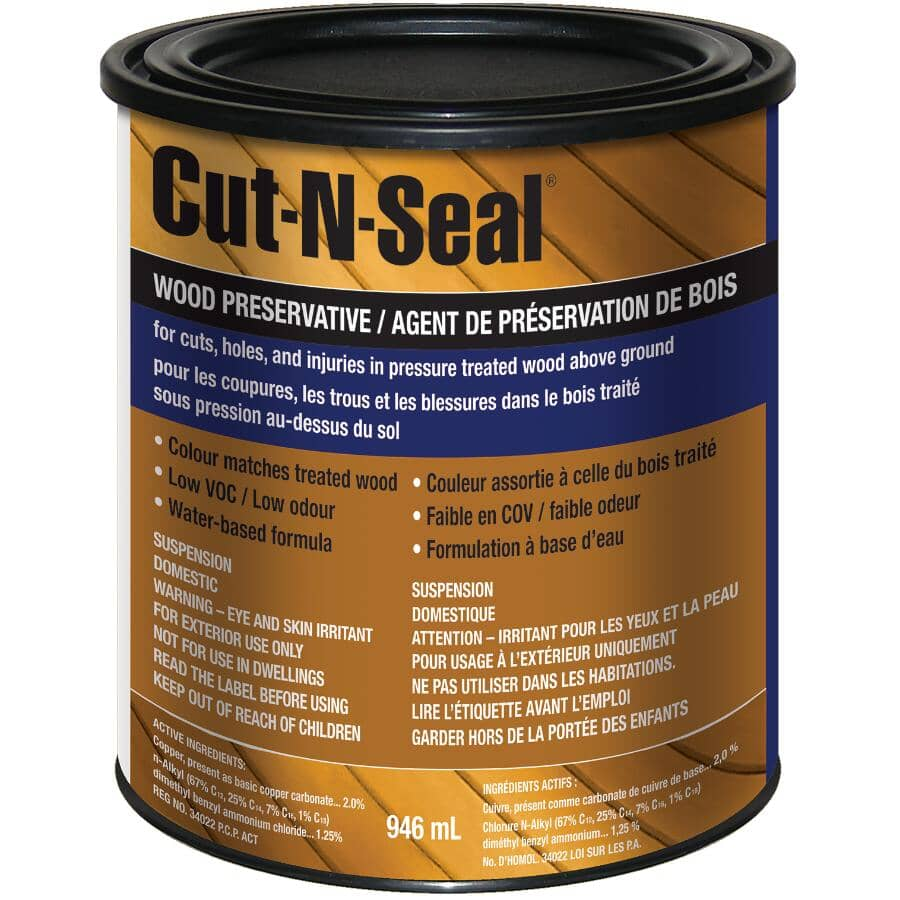 CUT-N-SEAL:Scellant de préservation du bois Sienna coupe transversale, 946 ml