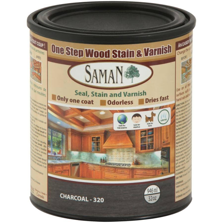 SAMAN:One Step Wood, Stain & Varnish Finish - Charcoal, 946 ml
