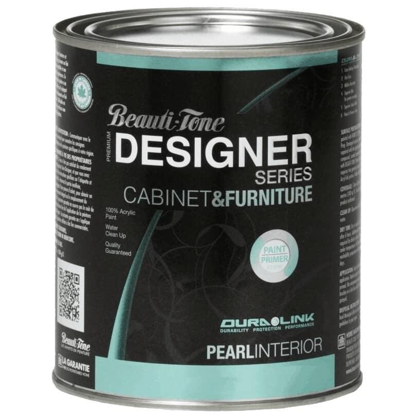 BEAUTI-TONE DESIGNER SERIES:Cabinet & Furniture Interior Acrylic Paint - Black, 925 ml