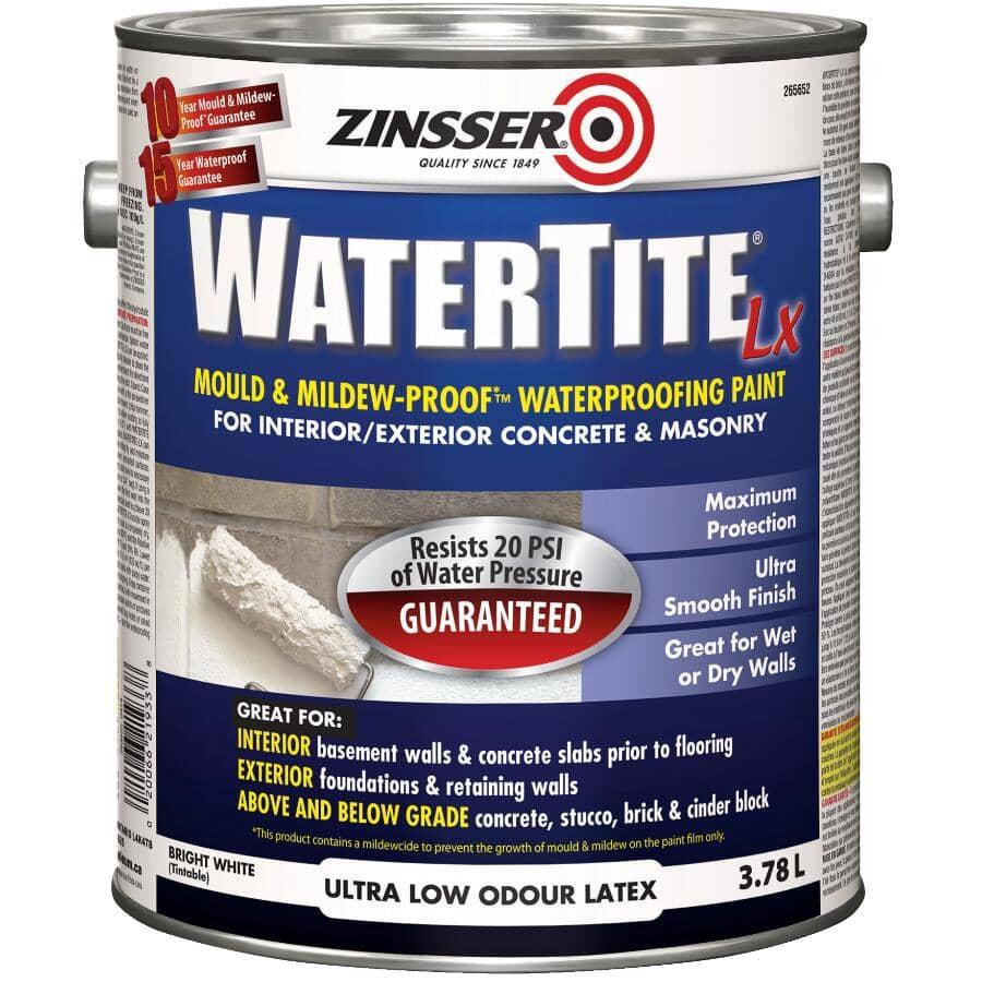 ZINSSER:WaterTite Mould & Mildew-Proof Waterproofing Paint - White, 3.7 L