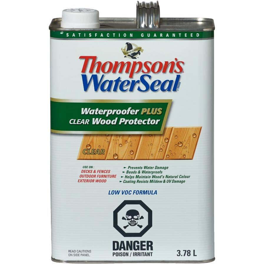 THOMPSON'S WATERSEAL:Waterproofer Plus Tinted Wood Protector - Clear, 3.78 L
